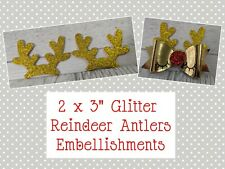 "2pcs Glitter Reindeer Antlers 3"" Christmas Embellishments  Cardmaking Bows"