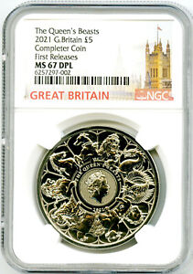 2021 GREAT BRITAIN 5PND QUEEN'S BEASTS COMPLETER COIN NGC MS67 FIRST RELEASES