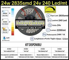 Striscia Led 24 Watt, 24 Volt Bianche 2835 240 Led/mt Kit 5/10/15m Strip 24w 24v