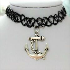 NEW Boat Anchor Pendant Silver Charm Black Tattoo Choker Necklace Chain Jewelry