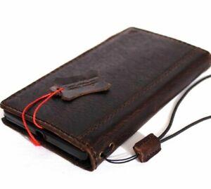 Genuine Dark Leather Case for Microsoft Lumia 950 XL Book Wallet Handmade Slim