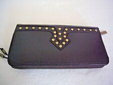 New VIA SPIGA Brown Patent Embossed Leather Gold Grommets Zip around Wallet