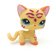 LPS#2118 Glitter Sparkle Cat Littlest Pet Shop Short Hair Yellow Kitty Toy Gift