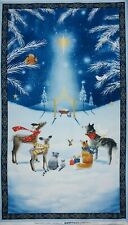 Sarah Summers Navy Woodland Night Christmas Star Cotton Fabric Panel