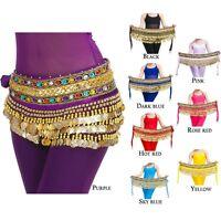 Belly Dance Dancing Costume Velvet Hip Scarf Skirt Belt with Gold Coins Wrap