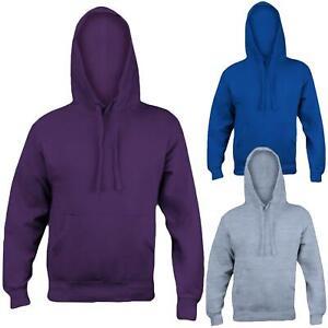 Mens Plain Hoodies Pullover Fleece Sweatshirt Jumper Womens Hooded Unisex Top