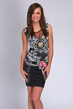 Partido Floral Mini Vestido sin mangas con cuello redondo Bodycon túnica TAMAÑOS 8-14 fc1110