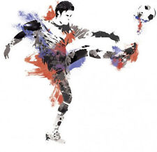 "MEN'S SOCCER PLAYER ball sports wall stickers MURAL 22 decals 38"" party decor"