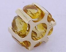 Bd081 - Genuine 9ct Solid Gold NATURAL Citrine Bead Charm for European bracelet