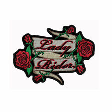 BIKER CHOPPER MOTO LADY Rider Rose Donna Rose aufbügler ricamate patch NUOVO