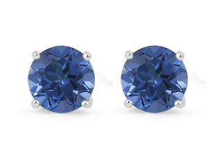 14k White Gold Over 7mm Round-Cut Blue Topaz Round Studs Earrings