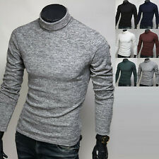 Mens Stylish Slim Knit Turtleneck Sweater Long Sleeve Polo Pullover Top M522 S/M