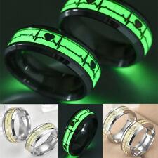 Men Women Glow in The Dark Heart Rate Stainless Steel Finger Ring Black US11 Siz