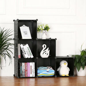 Classic Black 6 Cubes Storage Kid Cabinet Wardrobe Toy Book Shelve AU Stock