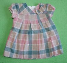 Mayoral white green pink grey tartan dress with bow for girl 3-6 months 68cm