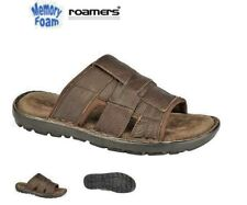 Men's Roamers Brown Leather Mules Summer Sandals Size 7 -12