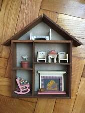 Wooden miniature wall hanging house with furniture miniatures