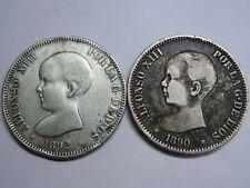 1890 - 1892 SEVILLANOS 5 PESETAS ALFONSO XIII LOT 2 MONEDAS SPAIN SPANISH SILVER