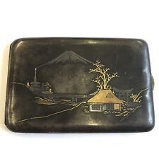 Vintage Japanese Damascene K24 Cigarette Case Mount Fuji Silver & Gold Detail