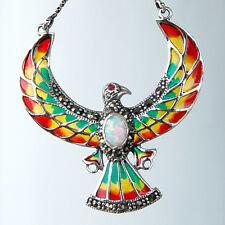 C161  Collier Aigle Style Art Nouveau Argent 925 Email & Opale & Marcasites