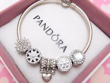 Authentic Pandora Silver Bangle Bracelet With White Christmas European Charms...