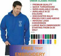 New Personalised Embroidered Hoodie Uneek, Workwear, Custom text or logo UC502