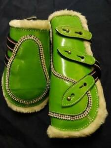 Set of 4 Bling Patent Leather Tendon & Fetlock Boots - Lime Green - Pony