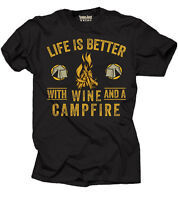 Wine Campfire T-shirt Camping Camp Summer Tee Shirt