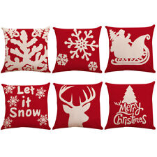 6PC Christmas Pillow Cover Embroidery Throw Pillow Cases for Home Car Decorative