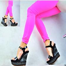 Diseñador Sandalias Zapatos de Mujer Fiesta Club Tacón Elegante Plataforma Cuña