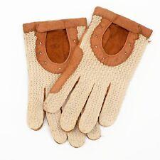 Vintage Autohandschuhe Driving Gloves Gr 8 Gestrickt Knit Cognac Leder Leather