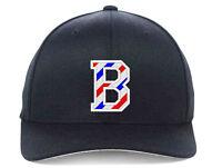 BARBER B Logo with Barber Pole Stripes Embroidered, Flexfit Hats