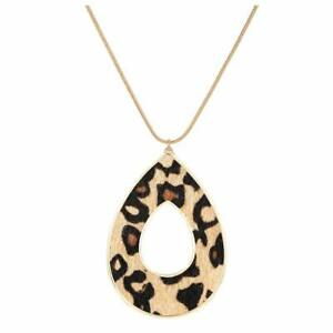 Womens Statement Chunky Long Big Large Leopard Print Heart Fabric Necklace