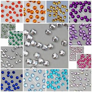 100 x 6mm Round Diamante Gems NOT Stick On Self Adhesive - LOOSE Clear Red Blue