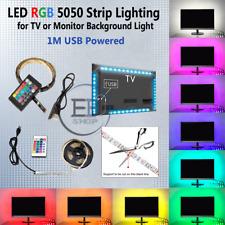 LED TV Strip Light USB 1M RGB  24 Key Remote Multi Colors 5050 Backlight PC US