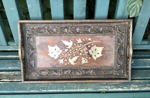 Antique/vintage Anglo Indian Tray Carved Hardwood Inlaid Brass & Copper