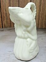 Antique / Vintage FLAWLESS Belleek CREAMER  Girl Arms Over Her Head GREEN MARK