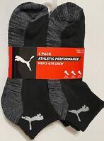 Puma Performance  6-Pair Men's Quarter Crew Socks  Black/Gray  (5253)