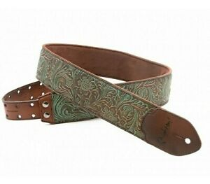 Genuine Leather Guitar Strap Turquoise by Right On Hand Made in Spain