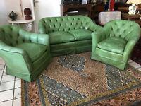 Chesterfield Ledersofa Couch Garnitur 2-Sitzer + 2Sessel Design Leder Olivgrün