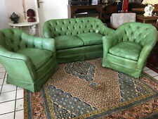 Chesterfield Leather Sofa Sofa 2 seater + 2 Armchair Design Leather Olive Green