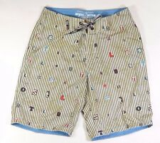 Lost RANSOM STRIPE Mens Polyester Stretch Boardshorts Size 32 Brown White NEW