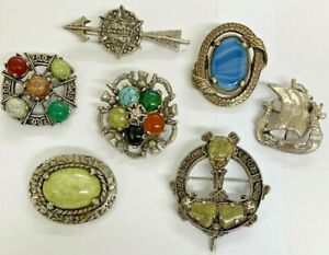 Collection of 7 Vintage Celtic Scottish Miracle Brooches All Good