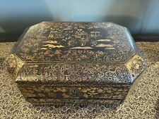 More details for antique 19th century georgian regency lacquer ware oriental chinese sewing box