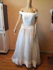 Oleg Cassini size 8 ivory wedding dress off shoulder sleeves