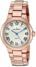 Peugeot Women's Round Silver Roman Numeral Link Bracelet Dress Watch 7086S