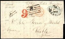 1855.Carta Pref.Livorno-Puebla Caramiñal.Diversos Fchdr Italianos y Marcas