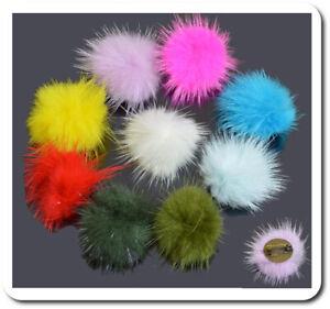 Piccolo Spilla Pelliccia Pon Pelliccia Coniglio Spilla 14 Colori 30 MM