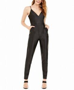 bebe Women's Jumpsuit True Black Size Medium M Satin Skinny Fit $109 179