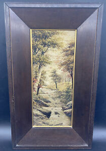 Antique Handwoven Silk Embroidery Landscape Forest Waterfall Orig. Frame Vintage